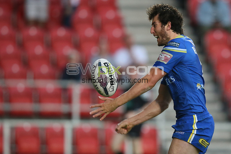 Picture by Paul Currie/SWpix.com - 03/06/2016 - Rugby League - First Utility Super League - St Helens v Warrington Wolves - Langtree Park, St Helens, England - Warrington Wolves' Stefan Ratchford celebrates scoring the 4th try