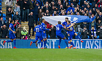 Callum Paterson of Cardiff City (second right) celebrates scoring his side's first goal during the Sky Bet Championship match between Cardiff City and Sunderland at the Cardiff City Stadium, Cardiff, Wales on 13 January 2018. Photo by Mark  Hawkins / PRiME Media Images.