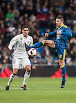 Iago Aspas Juncal of RC Celta de Vigo competes for the ball with Raphael Varane of Real Madrid during their Copa del Rey 2016-17 Quarter-final match between Real Madrid and Celta de Vigo at the Santiago Bernabéu Stadium on 18 January 2017 in Madrid, Spain. Photo by Diego Gonzalez Souto / Power Sport Images