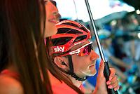 Picture by Pier Maulini/SWpix.com 27/05/2015 Cycling - Giro d'Italia - 27/05/2015 - Stage Seventeen - Tirano - Lugano ( Switzerland )<br /> copyright picture - Simon Wilkinson - simon@swpix.com<br /> Elia Viviani at the start in Tirano