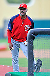 6 March 2012: Washington Nationals third base coach Bo Porter throws batting practice prior to a Spring Training game against the Atlanta Braves at Champion Park in Disney's Wide World of Sports Complex, Orlando, Florida. The Nationals defeated the Braves 5-2 in Grapefruit League action. Mandatory Credit: Ed Wolfstein Photo