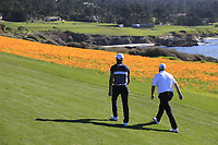Rafa Cabrera-Bello (ESP) and Shane Lowry (IRL) walk off the 7th tee at Pebble Beach course during Friday's Round 2 of the 2018 AT&amp;T Pebble Beach Pro-Am, held over 3 courses Pebble Beach, Spyglass Hill and Monterey, California, USA. 9th February 2018.<br /> Picture: Eoin Clarke | Golffile<br /> <br /> <br /> All photos usage must carry mandatory copyright credit (&copy; Golffile | Eoin Clarke)