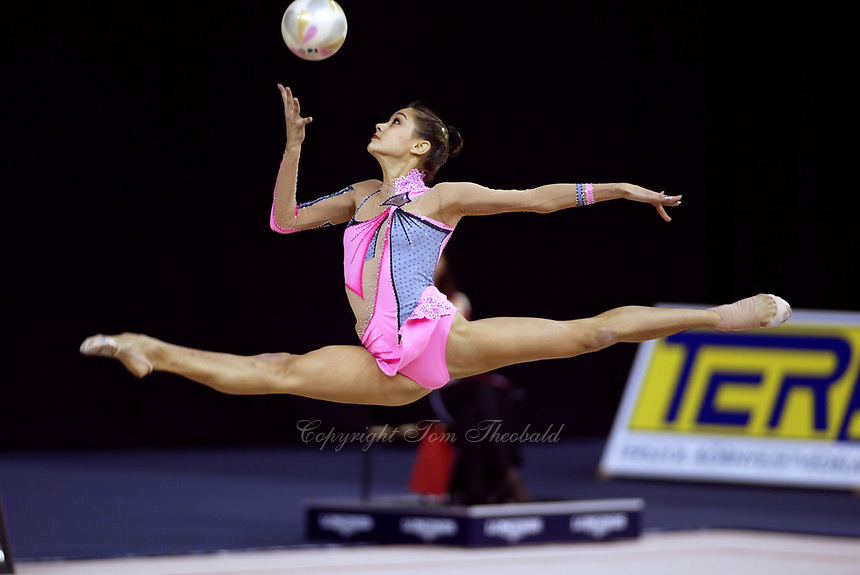 September 24, 2003 - Budapest, Hungary: IRINA TCHACHINA of Russia leaps to re-catch ball in team competition at 2003 Rhythmic Gymnastics World Championships, Sept 24-28. Russia leads going into final day of competition.