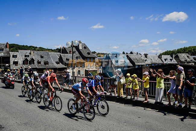 The breakaway including Anthony Turgis (FRA) Total Direct Energie, Tony Gallopin (FRA) AG2R La Mondiale, Odd Christian EIking (NOR) Wanty-Gobert, Mads Wurtz Schmidt (DEN) Katusha-Alpecin, Natnael Berhane (ERI) Cofidis and Michael Schar (SUI) CCC Team during Stage 10 of the 2019 Tour de France running 217.5km from Saint-Flour to Albi, France. 15th July 2019.<br /> Picture: ASO/Pauline Ballet   Cyclefile<br /> All photos usage must carry mandatory copyright credit (© Cyclefile   ASO/Pauline Ballet)