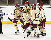 Kaliya Johnson (BC - 6), Alex Carpenter (BC - 5), Meghan Grieves (BC - 17), Blake Bolden (BC - 10), Haley Skarupa (BC - 22) -  - The visiting University of Minnesota Duluth Bulldogs defeated the Boston College Eagles 3-2 on Thursday, October 25, 2012, at Kelley Rink in Conte Forum in Chestnut Hill, Massachusetts.