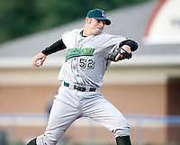 July 24, 2009:  Pitcher Josh Roberts of the Jamestown Jammers delivers a pitch during a game at Dwyer Stadium in Batavia, NY.  The Jammers are the NY-Penn League Short-Season Single-A affiliate of the Florida Marlins.  Photo By Mike Janes/Four Seam Images