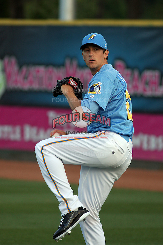 Myrtle Beach Pelicans pitcher Kyle Hendricks #27 throwing before a game against the Potomac Nationals at Tickerreturn.com Field at Pelicans Ballpark on April 10, 2012 in Myrtle Beach, South Carolina. Potomac defeated Myrtle Beach by the score of 6-4. (Robert Gurganus/Four Seam Images)