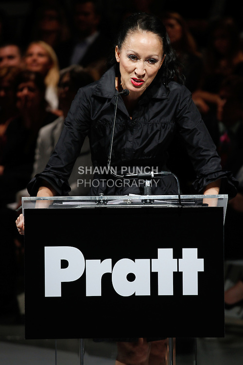 "Supermodel Pat Cleveland honors designers Stephen Burrows, for his 2014 Pratt Fashion Award for Lifetime Achievement, at the 115th Annual Pratt Institute 2014 ""Under Construction"" collection Student Runway show;  at Center548 in NYC, on May 1, 2014."