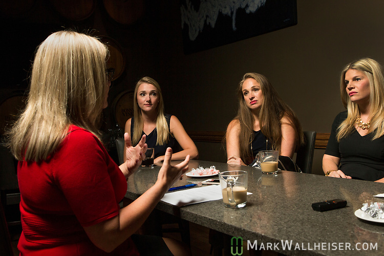 Moderator Christina Johnson, left, leads a discussion with lobbyist Samantha Sexton, left, Monica Rodriguez and Andrea Reilly during a Florida Women Lobbyist round table at the Blue Halo Restaurant in Tallahassee, Florida.