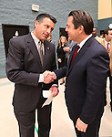 Gov. Brian Sandoval talks with Sen. Michael Roberson, R-Henderson, before signing the school bond bill into law at a local elementary school in Carson City, Nev., on Wednesday, March 4, 2015. <br /> Photo by Cathleen Allison