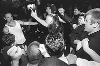 People moshing, Powerhouse at La Val's Pizza. Sammy &quot;the Mick&quot; singing along.<br />