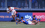 10th February 2019, Belle Vue, Wakefield, England; Betfred Super League rugby, Wakefield Trinity versus St Helens; Regan Grace of St Helens beats a tackle from Reece Lyne of Wakefield Trinity with Justin Horo of Wakefield Trinity close by