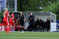 Jayne Ludlow Head Coach of Wales Women's' shouts instructions to her team from the dug-out during the Women's International Friendly match between Wales and New Zealand at the Cardiff International Sports Stadium in Cardiff, Wales, UK. Tuesday 04 June, 2019