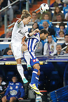 ATENCAO EDITOR IMAGENS EMBAGADAS PARA VEICULOS INTERNACIONAIS - <br /> MADRI, ESPANHA, 30 SETEMBRO 2012 - CAMP. ESPANHOL - REAL MADRID X DEPORTIVO LA CORUNA - Luka Modrik jogador do Real Madrid, durante lance de partida contra Deportivo La Coruna pela sexta rodada do Campeonato Espanhol no Estadio Santiago Bernabeu em Madri capital da Espanha, neste domingo, 30. (FOTO: ALFAQUI / BRAZIL PHOTO PRESS).