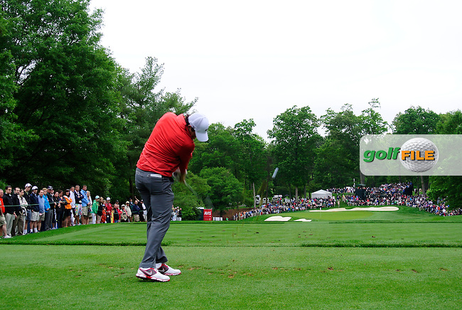 Rory McIlroy (NIR) tees off the par3 2nd tee during Thursday's Round 1 of the 2013 Wells Fargo Championship at Quail Hollow Club, Charlotte, North Carolina, 2nd May 2013..Picture: Eoin Clarke www.golffile.ie.