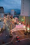 The Reno Arch and casino strip in downtown Reno, Nevada.