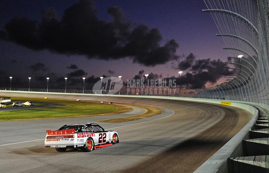 Nov. 19, 2010; Homestead, FL, USA; NASCAR Nationwide Series driver Brad Keselowski during the Ford 300 at Homestead Miami Speedway. Mandatory Credit: Mark J. Rebilas-