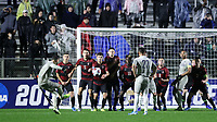 CARY, NC - DECEMBER 13: A wall of Stanford University players defends the goal during a game between Stanford and Georgetown at Sahlen's Stadium at WakeMed Soccer Park on December 13, 2019 in Cary, North Carolina.