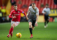Jake Forster-Caskey of Charlton Athletic and Marcus Maddison of Peterborough United in action during the Sky Bet League 1 match between Charlton Athletic and Peterborough at The Valley, London, England on 28 November 2017. Photo by Vince  Mignott / PRiME Media Images.