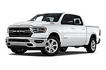 Stock pictures of low aggressive front three quarter view of 2019 Ram Ram-1500-Pickup Big-Horn-Crew-Cab-SWB 4 Door Pickup Low Aggressive