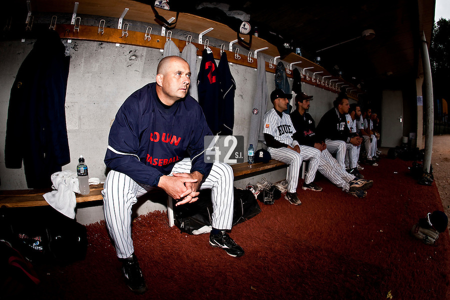 03 october 2009: Starting pitcher Robin Roy of Rouen is seen in the dugout prior to game 1 of the 2009 French Elite Finals won 6-5 by Rouen over Savigny in the 11th inning, at Stade Pierre Rolland stadium in Rouen, France.