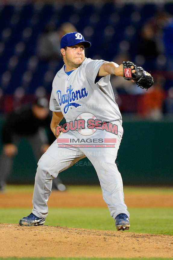 Daytona Cubs pitcher Ryan Searle #44 during a game against the Brevard County Manatees at Spacecoast Stadium on April 5, 2013 in Viera, Florida.  Daytona defeated Brevard County 8-0.  (Mike Janes/Four Seam Images)