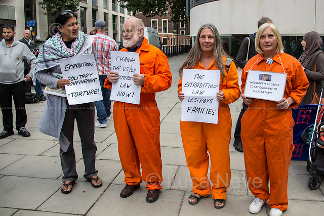 London, 17/08/2014. Today, a rally, organised by the &quot;Free Talha Ahsan Campaign&quot;, was held outside the Home Office to celebrate the homecoming of Talha Ahsan, after a US judge on the 16th July 2014 finally declared him a free man. From the organisers online press release: &lt;&lt;[&hellip;] &quot;Wasn't great to say goodbye?&quot; boasted Theresa May in the cruel extradition of Talha Ahsan. Talha is a British-born citizen, who suffers from Aspergers syndrome like Gary Mckinnon, was extradited to indefinite solitary confinement in US Supermax prison housing death row inmate after over 6 years of detention without trial, charge or prima facie evidence in the UK. [&hellip;] US-UK EXTRADITION is ruining the lives of too many British citizens and guest - and must be reform urgently&gt;&gt;.<br /> <br /> For more information please click here (Wikipedia): http://bit.ly/Xtugqw<br />  <br /> For more information about the campaign please click here: http://freetalha.org/
