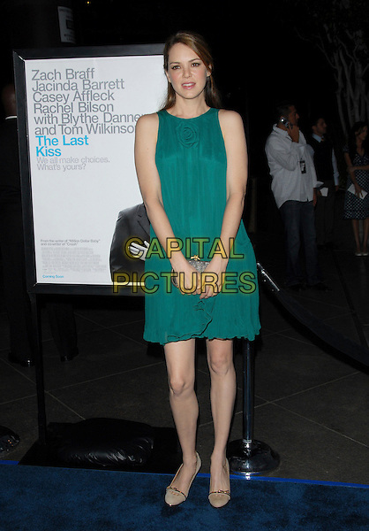 """JACINDA BARRETT.L.A. Premiere of """"The Last Kiss"""" held at The DGA in West Hollywood, California, USA..September 13th, 2006.Ref: DVS.full length turquoise dress clutch purse.www.capitalpictures.com.sales@capitalpictures.com.©Debbie VanStory/Capital Pictures"""