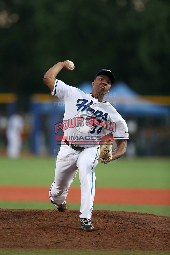 Tyler Mark (34) of the Hillsboro Hops pitches during a game against the Boise Hawks at Ron Tonkin Field on August 22, 2015 in Hillsboro, Oregon. Boise defeated Hillsboro, 7-1. (Larry Goren/Four Seam Images)