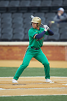 Daniel Jung (31) of the Notre Dame Fighting Irish at bat against the Wake Forest Demon Deacons at David F. Couch Ballpark on March 10, 2019 in  Winston-Salem, North Carolina. The Fighting Irish defeated the Demon Deacons 8-7 in 10 innings in game two of a double-header. (Brian Westerholt/Four Seam Images)