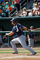 Pensacola Blue Wahoos outfielder Kyle Waldrop (15) in action during a game against the Jacksonville Suns at Bragan Field on the Baseball Grounds of Jacksonville on May 11, 2015 in Jacksonville, Florida. Jacksonville defeated Pensacola 5-4. (Robert Gurganus/Four Seam Images)