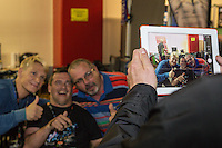 Fredrik Lindgren (Sweden) (left) poses with fans ahead of the 2016 Adrian Flux British FIM Speedway Grand Prix at Principality Stadium, Cardiff, Wales  on 9 July 2016. Photo by David Horn.