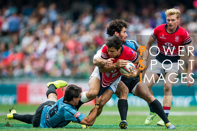 Hong Kong vs Uruguay during the HSBC Sevens Wold Series Qualifier match as part of the Cathay Pacific / HSBC Hong Kong Sevens at the Hong Kong Stadium on 28 March 2015 in Hong Kong, China. Photo by Xaume Olleros / Power Sport Images