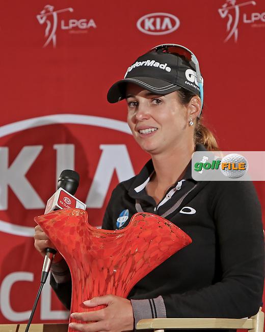 24 MAR 13  Beatriz Ricari meets the press after Sundays Final Round at The KIA Classic at Aviara Golf Club in Carlsbad, California. (photo:  kenneth e.dennis / kendennisphoto.com) www.golffile.ie