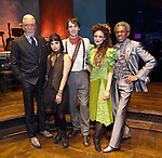 """Patrick Page, Eva Noblezada, Reeve Carney, Amber Gray and Andre de Shields during the Broadway Press Performance Preview of """"Hadestown""""  at the Walter Kerr Theatre on March 18, 2019 in New York City."""