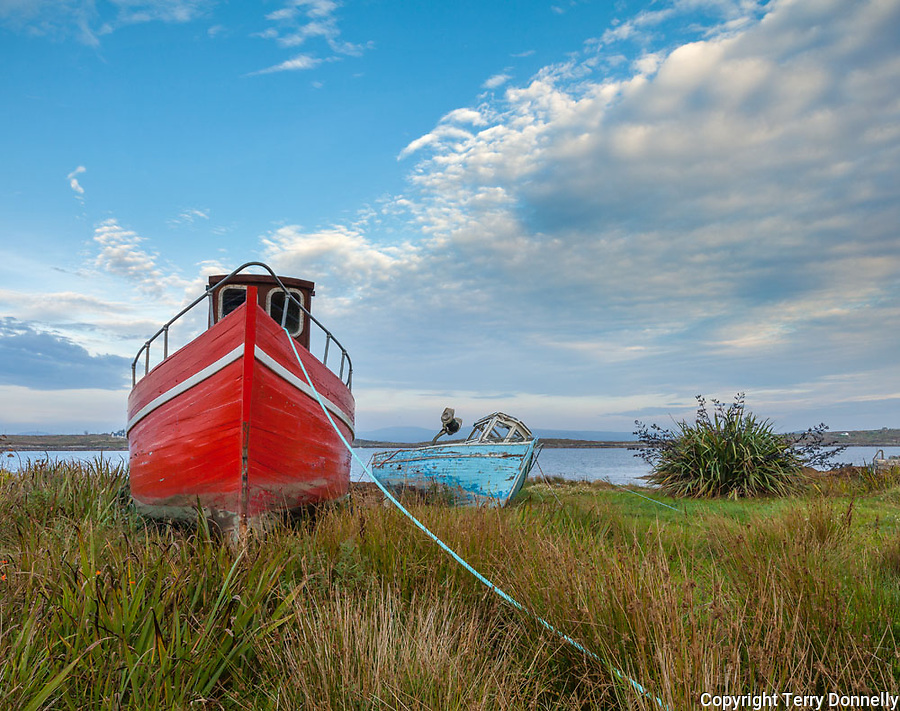 County Galway, Ireland: Evening light on abandoned wood boats on the shore of Roundstone Harbor