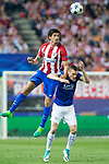 Stefan Savic of Atletico de Madrid competes for the ball with Jamie Vardy of Leicester City Football Club  during the match of  Champions LEague between  Atletico de Madrid and LEicester City Football Club at Vicente Calderon  Stadium  in Madrid, Spain. April 12, 2017. (ALTERPHOTOS / Rodrigo Jimenez)