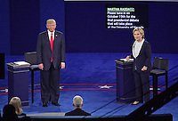 Former United States Secretary of State Hillary Clinton, the Democratic Party nominee for President of the US and businessman Donald J. Trump, the Republican Party candidate for President of the US, appear in the second of three presidential general election debates at Washington University in St. Louis, Missouri on Sunday, October 9, 2016.<br />