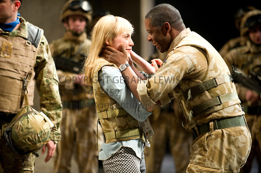 Othello by William Shakespeare, directed by Nicholas Hytner. With Adrian Lester as Othello, Olivia Vinall as Desdemona. Opens at The Olivier Theatre at  the Royal National Theatre on 23/4/13. CREDIT Geraint Lewis