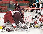 Ryan Grimshaw (Harvard - 6), Spiro Goulakos (Colgate - 6), Steve Michalek (Harvard - 34) - The Harvard University Crimson defeated the visiting Colgate University Raiders 4-2 on Saturday, November 12, 2011, at Bright Hockey Center in Cambridge, Massachusetts.