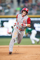 Jake Fincher (30) of the North Carolina State Wolfpack hustles towards third base against the Charlotte 49ers at BB&T Ballpark on March 31, 2015 in Charlotte, North Carolina.  The Wolfpack defeated the 49ers 10-6.  (Brian Westerholt/Four Seam Images)