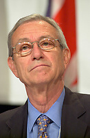 June 25, 2002, Montreal, Quebec, CANADA<br /> <br /> Baron Paul de Keeersmaeker, Honorary Chairman, Interbrew,<br /> speak on Economy and the Challenge of Governance,<br />  during the 9th Conference of Montreal, June 25, 2002 in Montreal, CANADA<br /> <br /> Interbrew is one of the major beer brewer in the world<br /> <br /> Mandatory credit : Photo by Pierre Roussel - Images Distribution<br /> (c) : 2002,Pierre Roussel