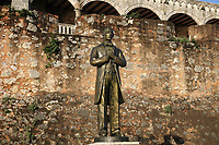 Statue of Juan Pablo Duarte, 1813-76, founding father of the Dominican Republic who was involved in its independence from Haiti in 1844, in the Plaza Patriotica, in the Colonial Zone of Santo Domingo, Dominican Republic, in the Caribbean. Santo Domingo's Colonial Zone is listed as a UNESCO World Heritage Site. Picture by Manuel Cohen