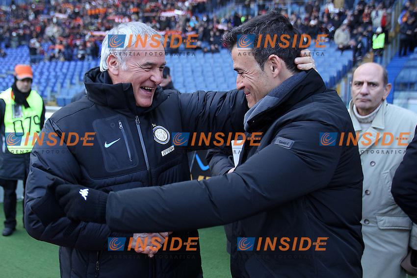 "Claudio Ranieri Inter Luis Enrique Roma..Roma 05/02/2012 Stadio ""Olimpico""..Football / Calcio Serie A 2011/2012..Roma vs Inter..Foto Insidefoto Paolo Nucci"