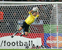 Angolan goalkeeper Joao Ricardo makes a save. Mexico and Angola played to a 0-0 tie in their FIFA World Cup Group D match at FIFA World Cup Stadium, Hanover, Germany, June 16, 2006.