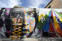 Roma, 4 Maggio 2014<br /> Il Muralista brasiliano Eduardo Kobra dipinge la facciata di Metropoliz in Via Prenestina con un mural dedicato a Malala.<br /> La ex fabbrica Fiorucci occupata da decine di famiglie ospita anche il MAAM , museo dell'altro e dell'altrove di Metropoliz.<br /> Kobra all'opera con Agnaldo Brito (destra)<br /> Brasilian street artist Eduardo Kobra, painting Malala's eyes in a occupied factory.<br /> Eduardo Kobra(L) and Agnaldo Brito(R)