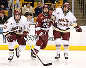 Ben Smith (Boston College - Avon, CT), Dave Watters (Harvard University - Eden Prairie, MN), Tim Kunes (Boston College - Huntington, NY) - The Boston College Eagles defeated the Harvard University Crimson 3-1 in the first round of the 2007 Beanpot Tournament on Monday, February 5, 2007, at the TD Banknorth Garden in Boston, Massachusetts.  The first Beanpot Tournament was played in December 1952 with the scheduling moved to the first two Mondays of February in its sixth year.  The tournament is played between Boston College, Boston University, Harvard University and Northeastern University with the first round matchups alternating each year.
