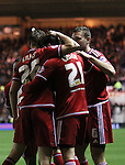 Gaston Ramirez of Middlesbrough celebrating after scoring the second goal of the game with team mates Tomas Kalas and Ben Gibson  - Sky Bet Championship - Middlesbrough vs Wolverhampton Wanderers - Riverside Stadium - Middlesbrough - England - 4th of March 2016 - Picture Jamie Tyerman/Sportimage