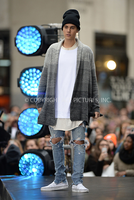 WWW.ACEPIXS.COM<br /> November 18, 2015 New York City<br /> <br /> Justin Bieber performing in concert on NBC TODAY at Rockefeller Plaza on November 12, 2015 in New York City.<br /> <br /> Credit: Kristin Callahan/ACE<br /> <br /> Tel: (646) 769 0430<br /> e-mail: info@acepixs.com<br /> web: http://www.acepixs.com