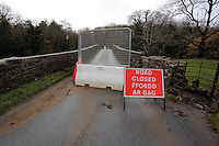 Pictured: A closed off bridge over river Ogmore near where Russell Sherwood went missing in Stormy Down, Wales, UK. Tuesday 22 November 2016<br />Re: The search has resumed for Russell Sherwood, 69, who went missing in river Ogmore, Bridgend County on Sunday.<br />Sherwood, of Cilfrew, Neath, was heading for Ewenny in the Vale of Glamorgan during heavy rain in the morning but never arrived.<br />He disappeared at Stormy Down and car parts were found on the river bank.<br />South Wales Police have confirmed registration plates recovered from a bumper match Mr Sherwood's car.